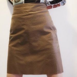 Express Tan Genuine Ostrich Leather Pencil Skirt